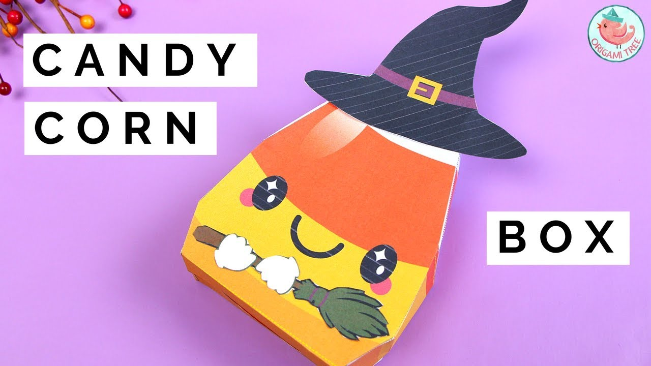 Diy Candy Corn Treat Box Free Printable Halloween Paper Crafts