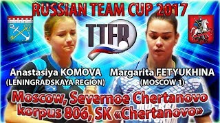 RUSSIAN CUP-2017 FETYUKHINA - KOMOVA #tabletennis #настольныйтеннис