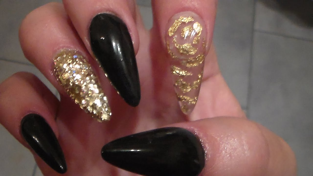Black Acrylic Nails | Sculpted Stiletto Shape - YouTube