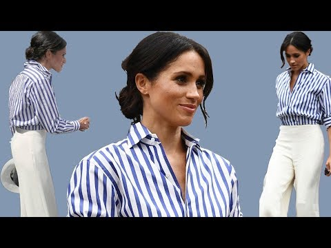 Meghan Markle gets it wrong shirt that is too BIG for her