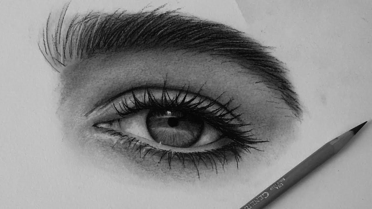How I Draw Eyes With Charcoal Pencils Youtube