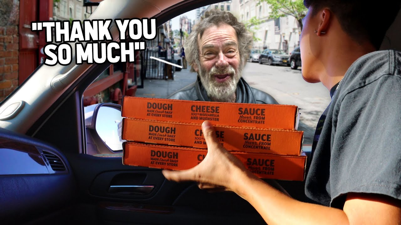 Giving Out Pizza's To People Who Need It Most.. (Emotional)