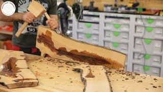 114 Projekt -  taca śniadaniowa z drewna jabłoni