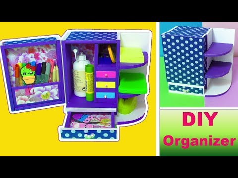 DIY small DESKTOP ORGANIZER from Cardboard - Back to school