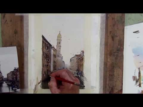 Venice Canal Speed Watercolor Painting Demonstration by Joe Cartwright