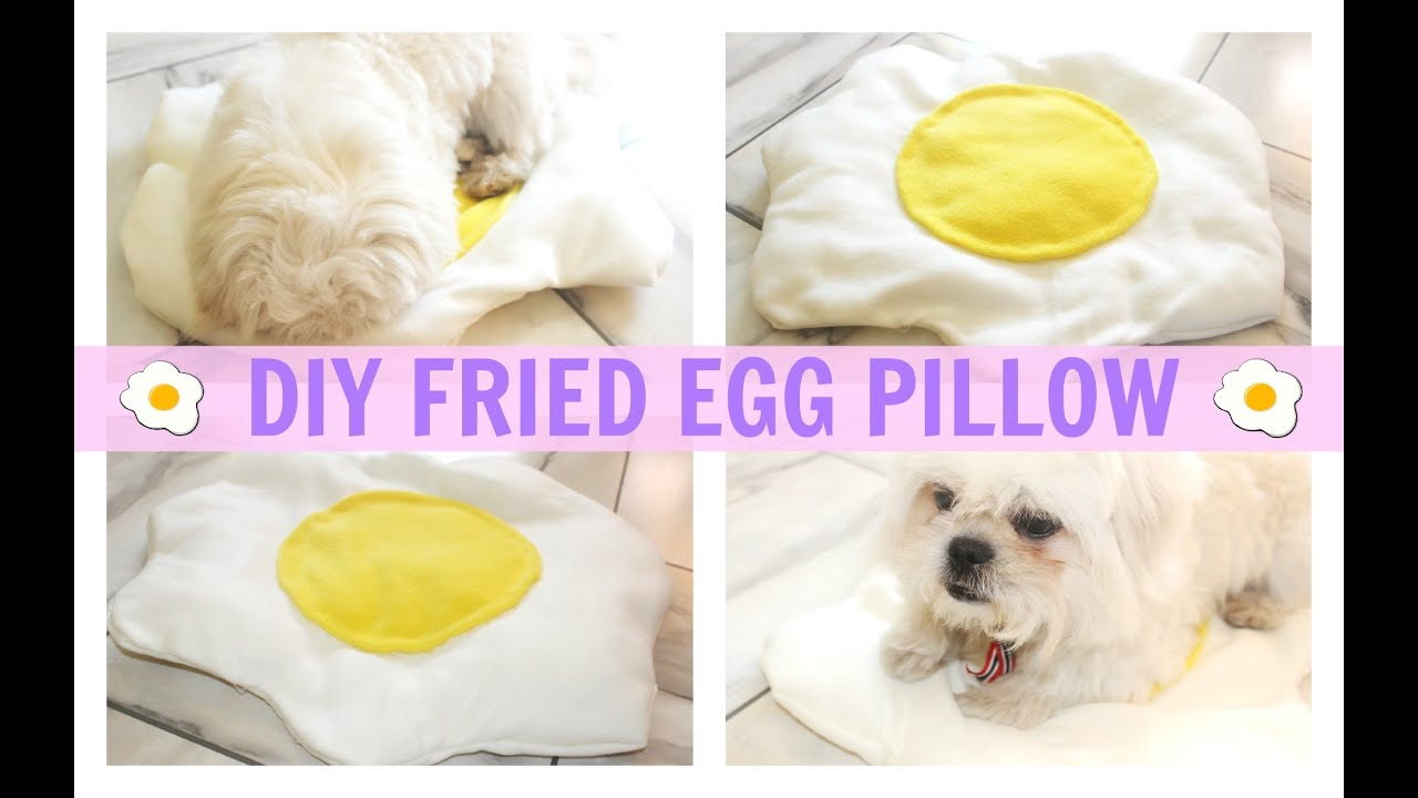 Cute Food Pillows Diy : DIY Room Decor Fried Egg Pillow (No Sew) heartcindy - YouTube