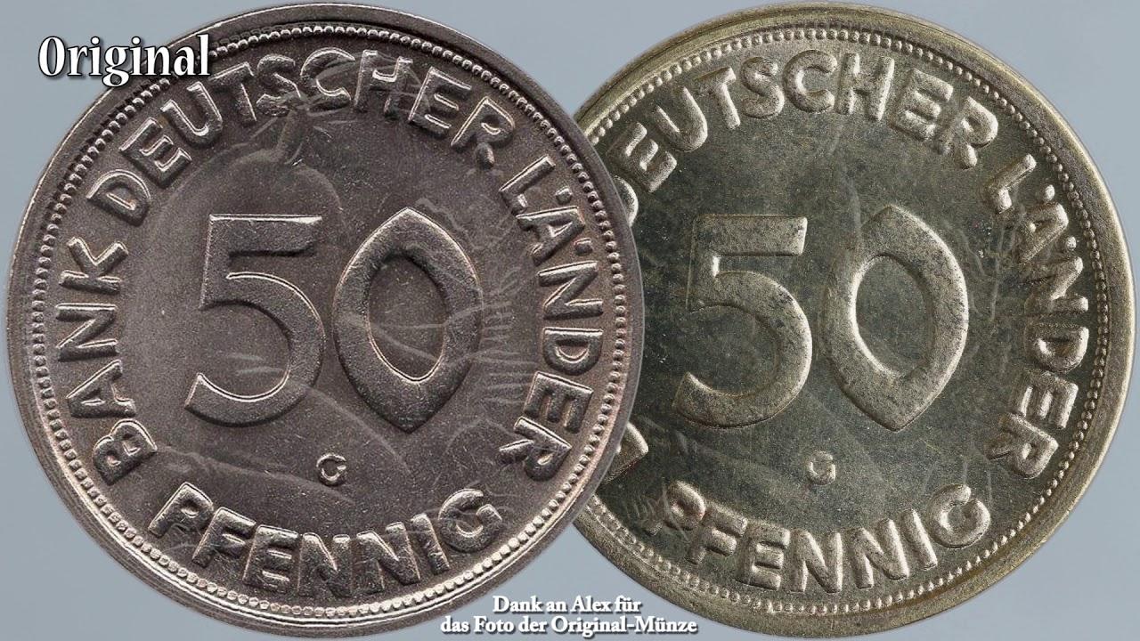 Vorsicht Vor Münzfälschungen 50 Pfennig Bank Deutscher Länder 1950