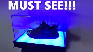 SNEAKER DISPLAY BOX CUSTOM CASE with LED LIGHTING - MUST SEE!  #LIT