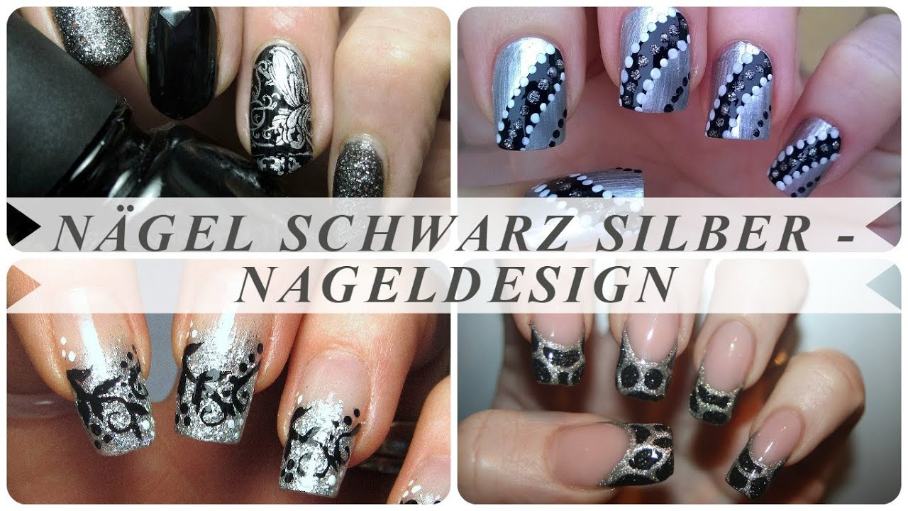 n gel schwarz silber nageldesign youtube. Black Bedroom Furniture Sets. Home Design Ideas