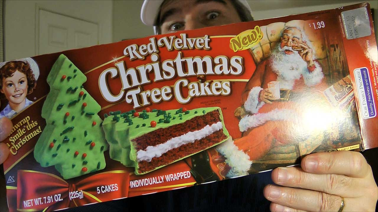 Little Debbie Red Velvet Christmas Tree Cakes Review Youtube