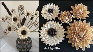 Idei compozitie de toamna!Flori realizate din seminte de dovleac,coji de fistic si boabe de cafea!