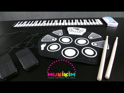 Rock and Roll It! Flexible Roll-Up Drum Kit & Piano from Mukikim