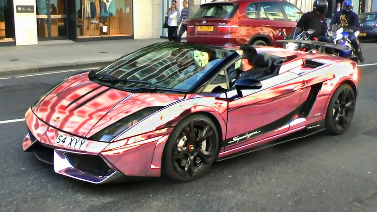 Chrome Pink Lamborghini Gallardo Surrounded By Motorbikes In London