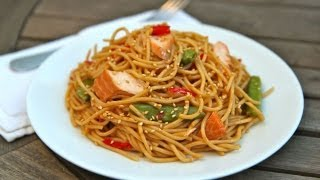 Spicy Hoisin Glazed Salmon Spaghetti