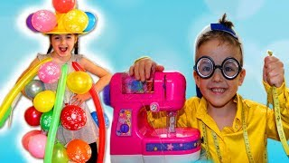 Masha and Play Dress Up with Balloons Clothes.Toy Sewing Machine