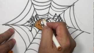 How to Draw a Cartoon Spider Video - Draw Halloween Things
