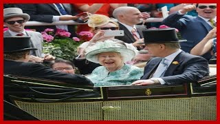 The Queen beams in eye-catching aquamarine as she attends final day of Royal Ascot