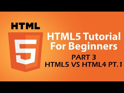 HTML5 Tutorial For Beginners - Part 3 - Comparing HTML5 File To HTML4 File - Part 1