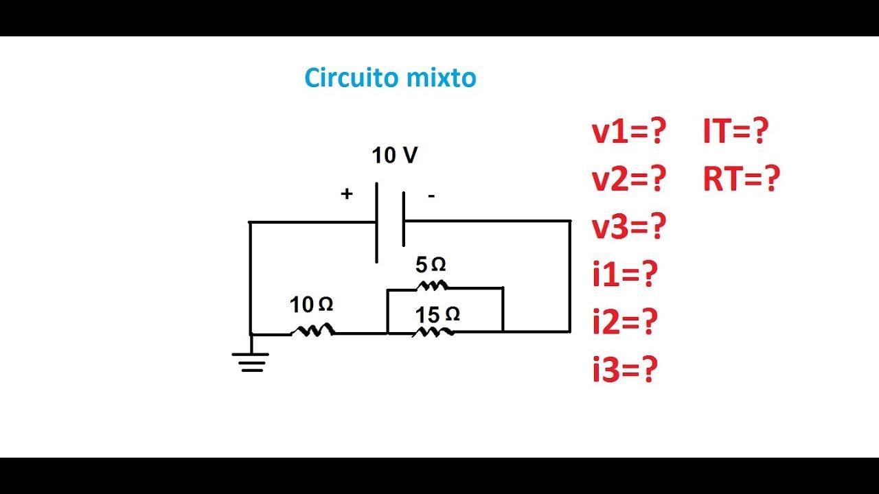 circuito mixto- calcular corrientes y ca u00eddas de tensi u00f3n