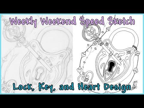Lock, Key, and Heart Tattoo - Weekend Sketch