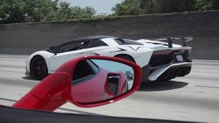 Ferrari 488 Pista chases Aventador SV! *Insane driving through traffic