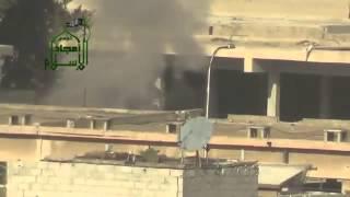 لحظة تفجير آلية في ادارة المركبات بريف دمشق