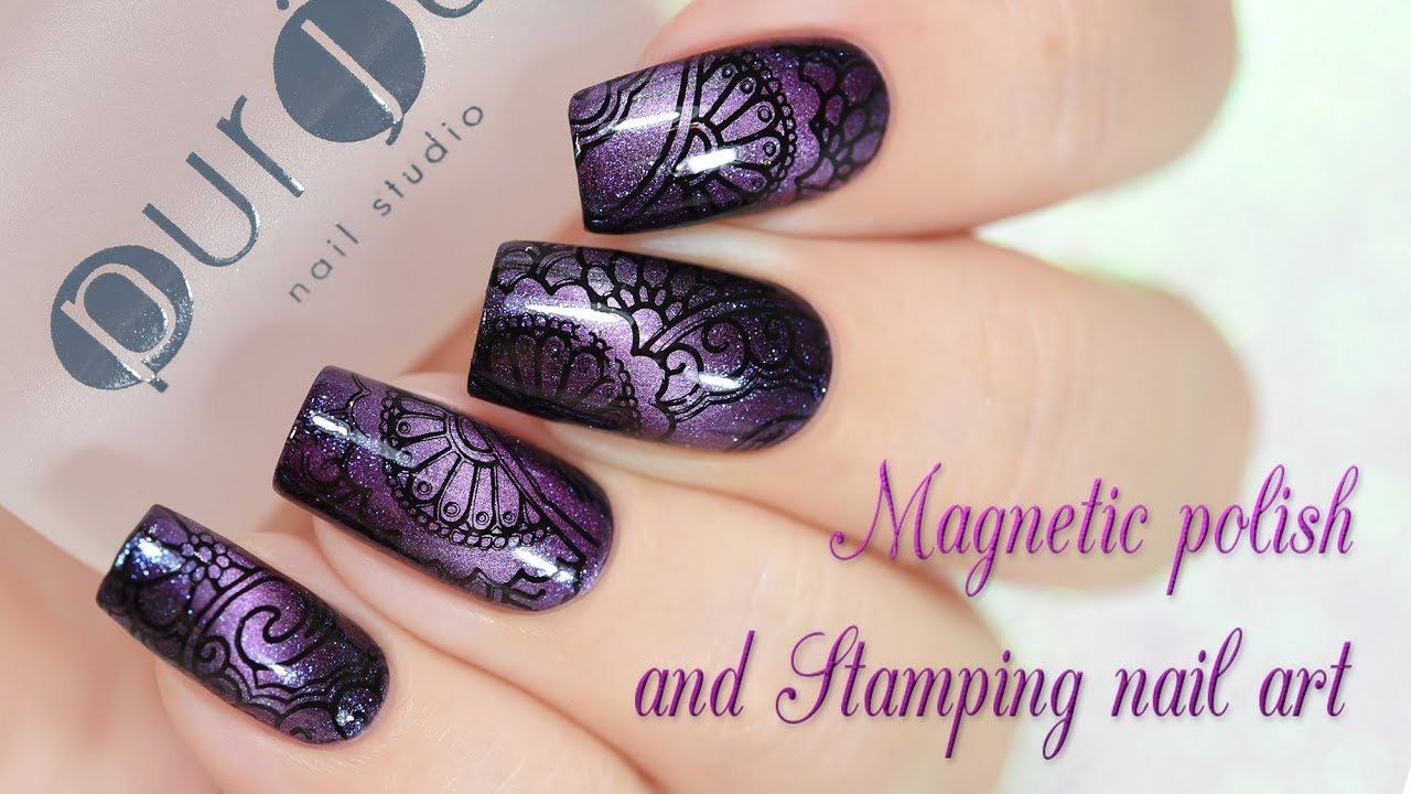 Magnetic Polish And Stamping Nail Art Youtube