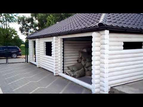 Деревянный гараж, хоз. блок из оцилиндрованного  бревна Лесстрой