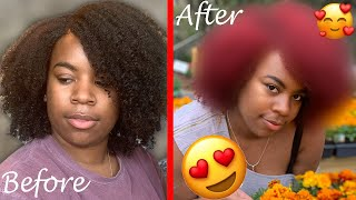 Dying My Natural Hair Red! No Bleach Ft. L'Oreal HiColor | Naturally Dev