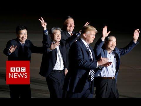 North Korea summit: Trump greets freed American detainees - BBC News