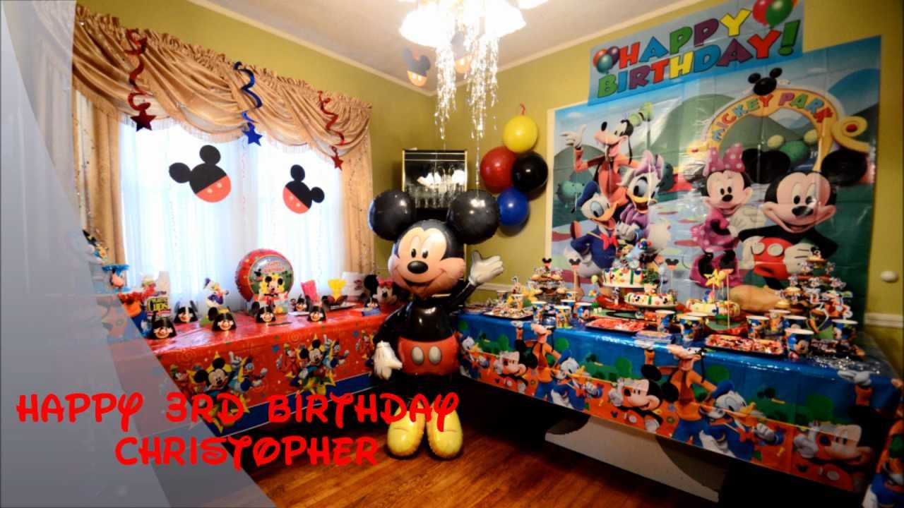Christopher Mickey Mouse Birthday party - YouTube