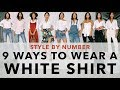 9 ways to wear a white shirt   style by number aimee song