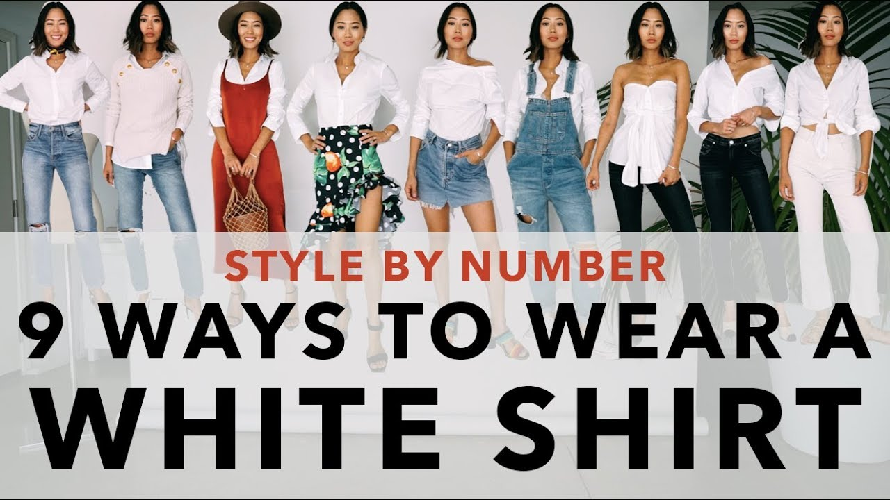 43efb0b4 9 Ways to Wear a White Shirt - Style By Number | Aimee Song - YouTube