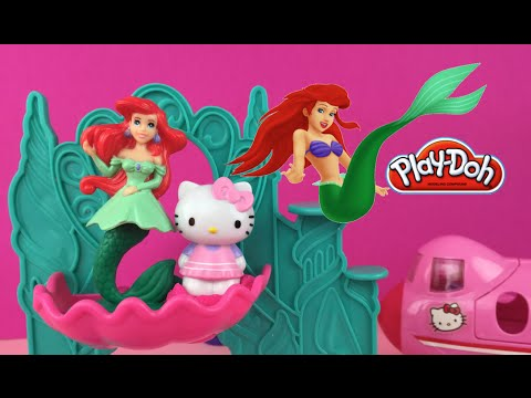 c1c51c11a Play Doh Disney Princess Ariel The Mermaid ❤ visits with Hello Kitty by  DisneyToysReview