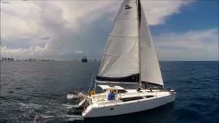 Gemini 105mc Sailing with aerial views off Fort Lauderdale, video of Sillette Drive in action.