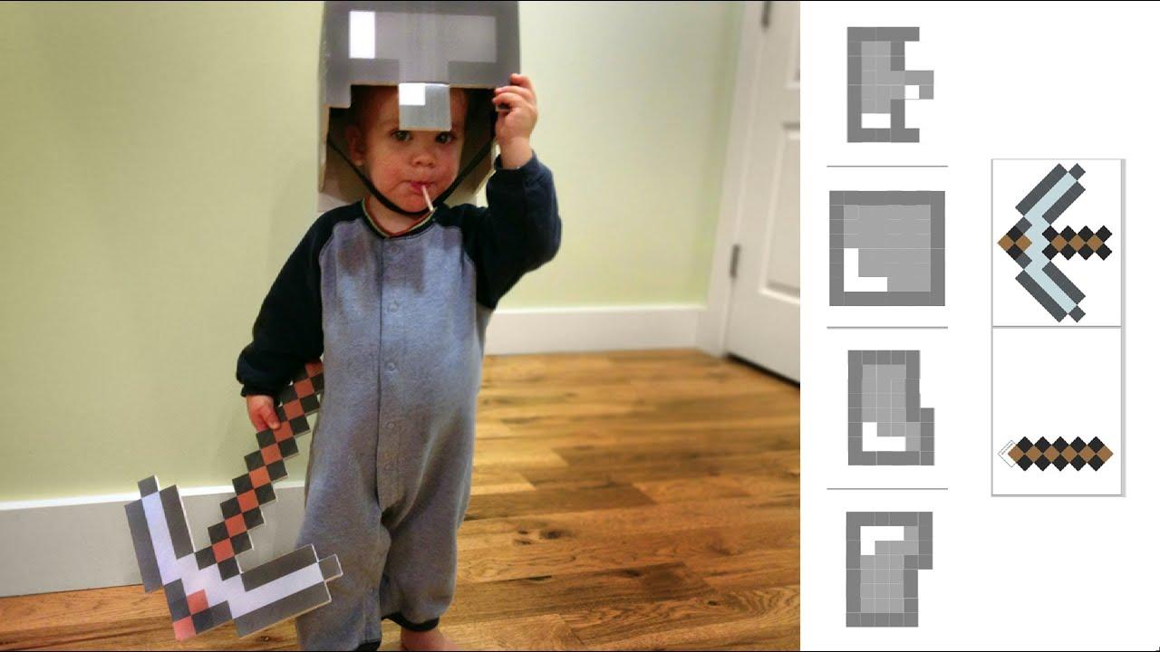Irl How To Make Minecraft Costume Helmet Amp Pickaxe Youtube