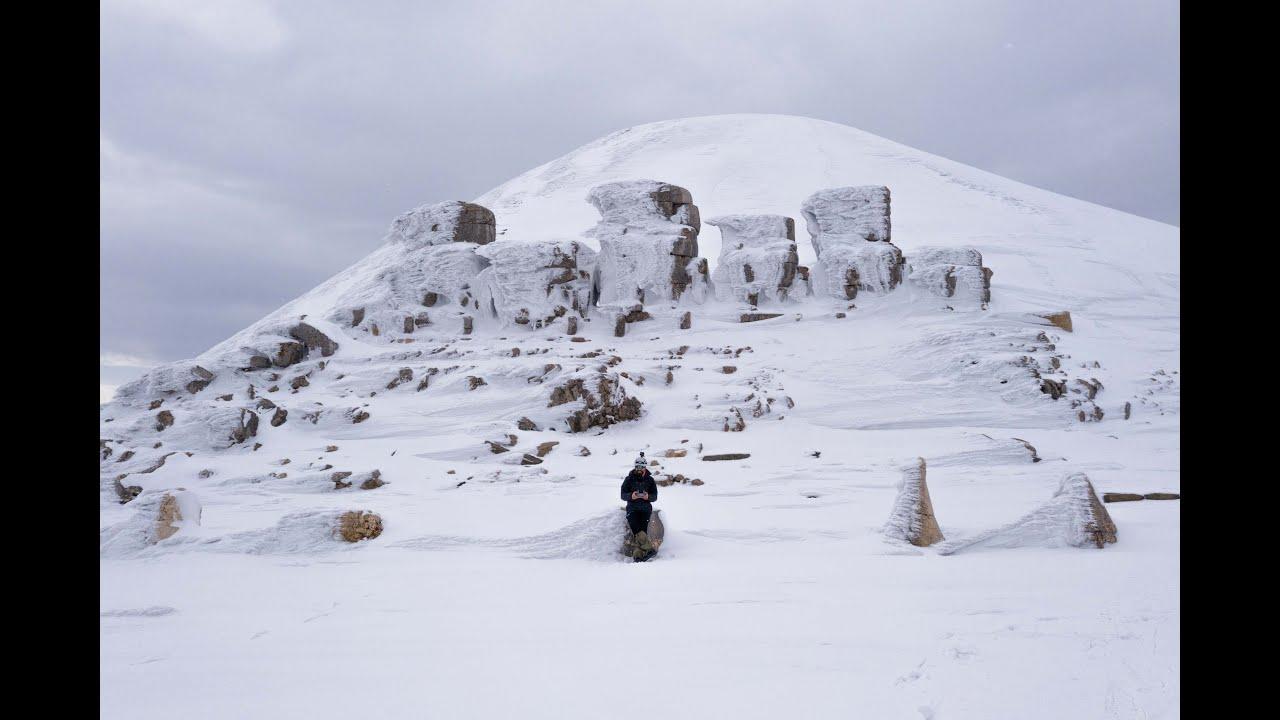 Doğa Tutkunları Kar Altındaki Nemrut Dağı'nı Görüntüledi