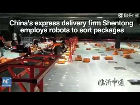 200,000 packages a day! Robots help sort parcels for quicker delivery