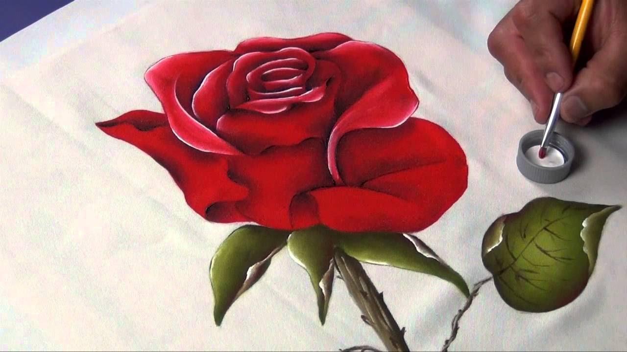 Cómo Pintar Rosas Sobre Tela Youtube