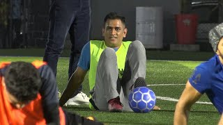 Cricketer mahendra singh dhoni was seen playing football with tennis player leander paes and actor arjun kapoor, among others. the match being played in ...