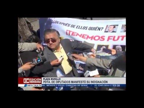 Alvarado arranca imagen de Montaño de banner por el 'No' - Viernes 18 diciembre 2015