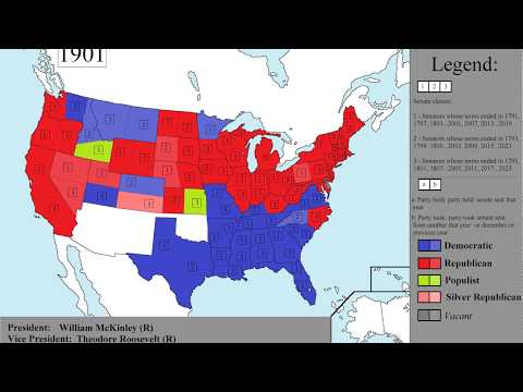 Map of USA senators by party affiliation from 1789 to 2017