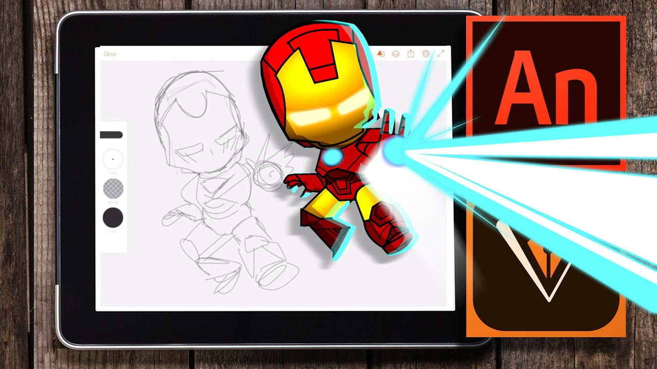 Digital Illustration Tutorial With Adobe Animate  Drawing A (cute) Iron  Man  Youtube