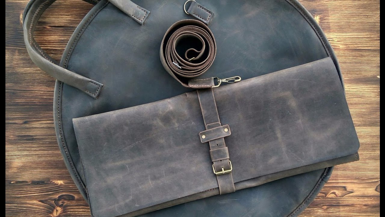 Сумка для барабанных тарелок 1 часть. Making leather bag for drum cymbals part 1