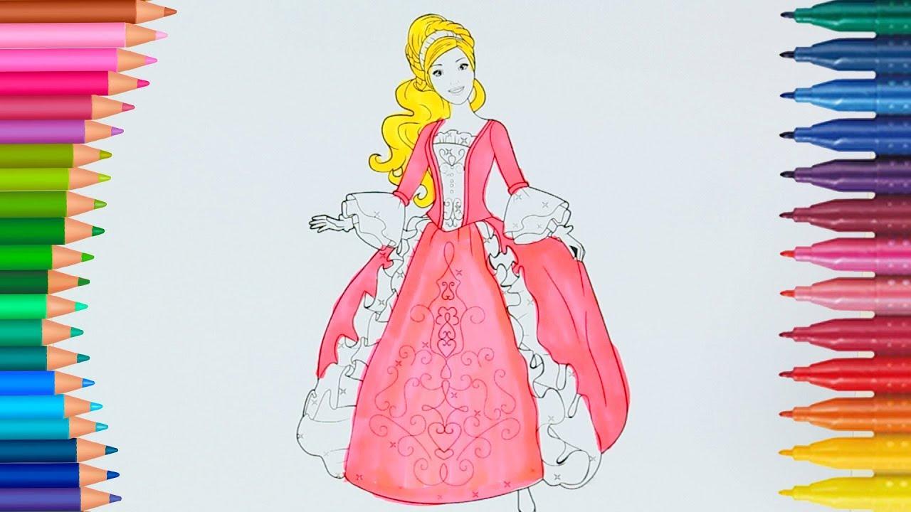 Prenses Barbie Boyama Sayfası Ile Renkleri öğreniyorum çocuklar