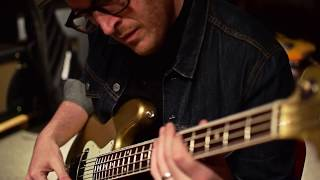Gold sparkle jazz bass in the studio with Ian Allison and the Noble preamp DI.