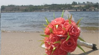 Как сделать свадебный букет своими руками. Делаем цветы из атласных лент.