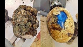 Woodturning - One Big Ugly Burl into a dragon egg !! thumbnail
