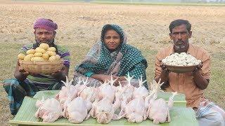 Chicken Potato With Daler Bori Recipe Delicious Village Food Farm Fresh Potato Curry For Orphan Kids