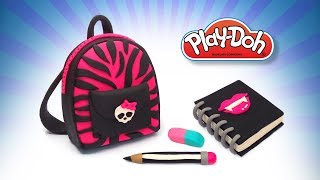Monster High Style Play Doh Toy School Supplies. DIY for Kids Backpack for School, Pencil, Notebook